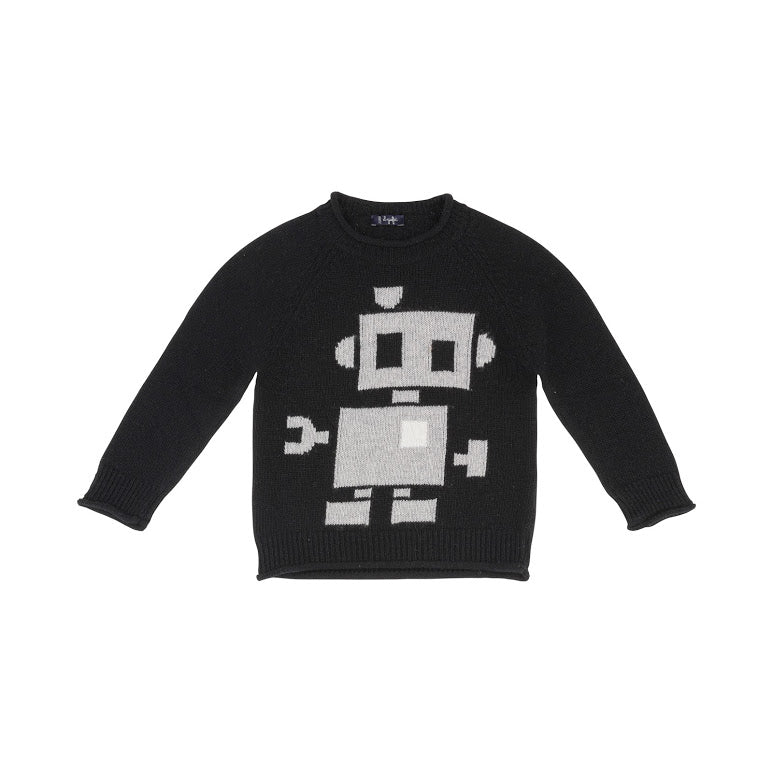 Black Knit Sweater with Robot