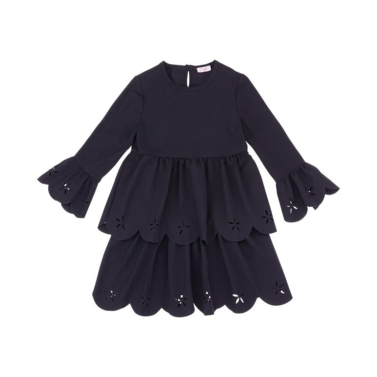 Navy Tiered Dress with Scalloped Edging