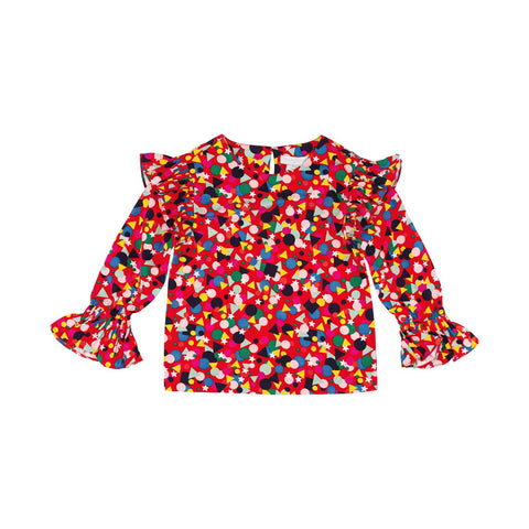 Red Shape-Print Blouse with Frill Details