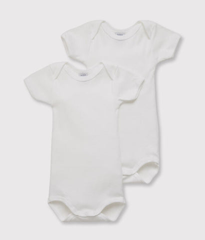 White Short Sleeved Bodysuits - Set of 2
