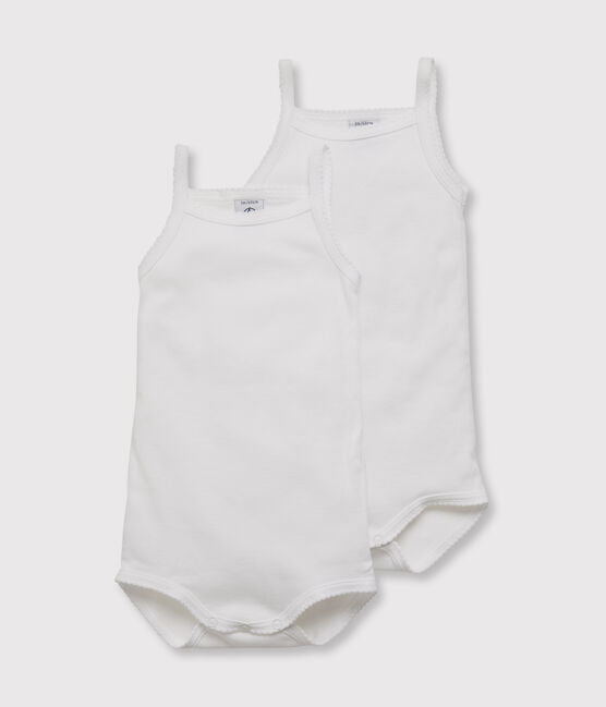 White Bodysuit with Picot Trim Straps - Set of 2