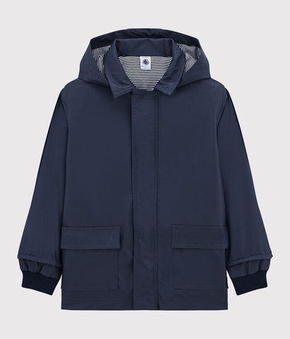 Navy Hooded Raincoat with Striped Lining