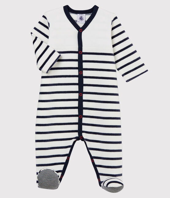 Navy Striped Velour Pyjama