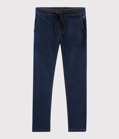Dark Wash Straight Cut Jeans With Elastic Waistband