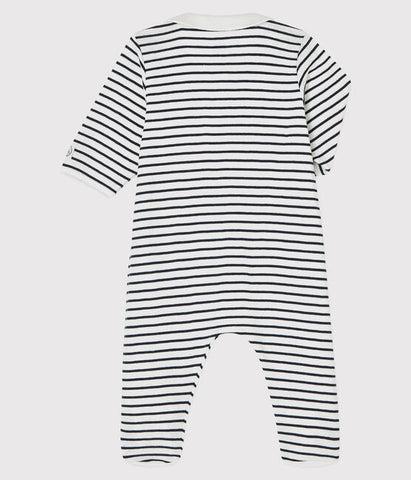 Striped Navy One-Piece with Collar