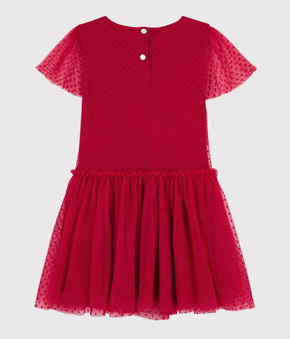 Red Flocked Polka Dot Tulle Dress