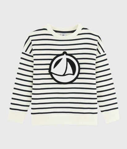 Navy Striped Sweatshirt with Boat Graphic