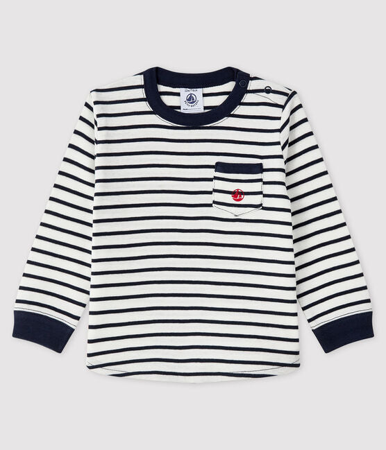 Navy Striped Long Sleeve Shirt with Sailboat Print Pocket