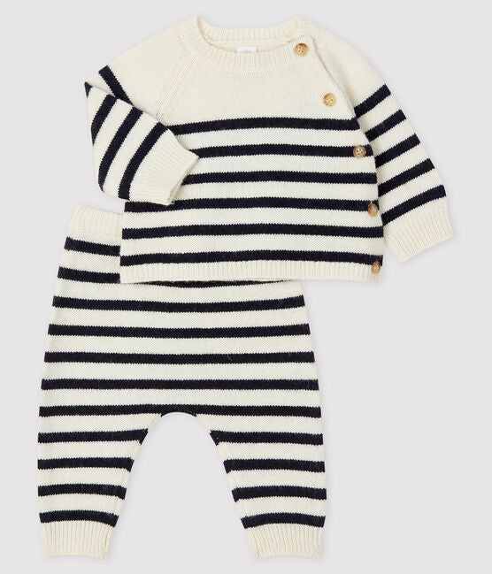 Navy Striped 2-Piece Set with Button Detail
