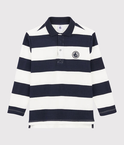 Navy Striped Long Sleeved Polo Shirt