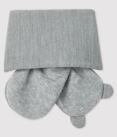 Grey Fleece Lined Bear Scarf