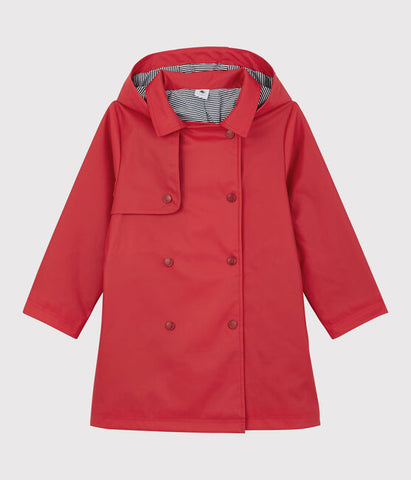 Red Hooded Rain Trench Coat