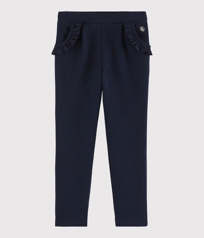 Navy Joggers with Ruffle Trim Pocket