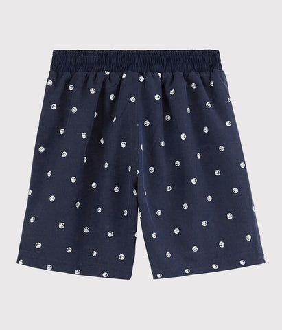 Navy Swim Shorts with Iconic Sailboat Print