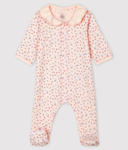 Pink Footed Pyjama with Ruffle Collar