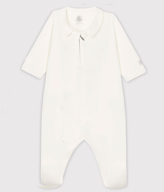 White Velour Footed Pyjama with Collar
