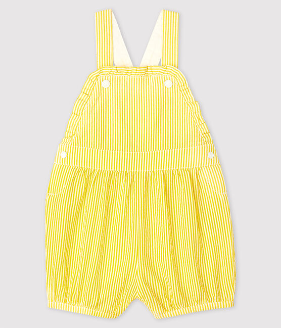 Yellow and White Striped Shortall