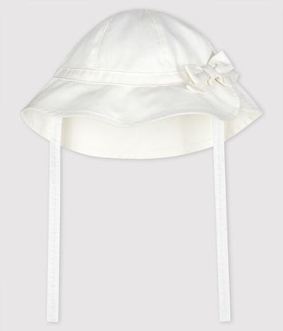 White Floppy Sunhat with Bow