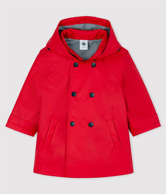 Red Rain Coat with Striped Lining