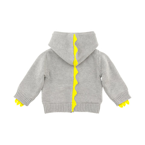 Grey Dinosaur Knit Zip-Up Hoodie