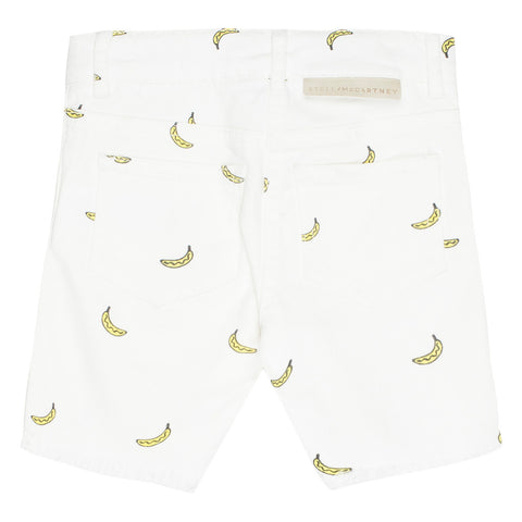 White Banana Print Shorts