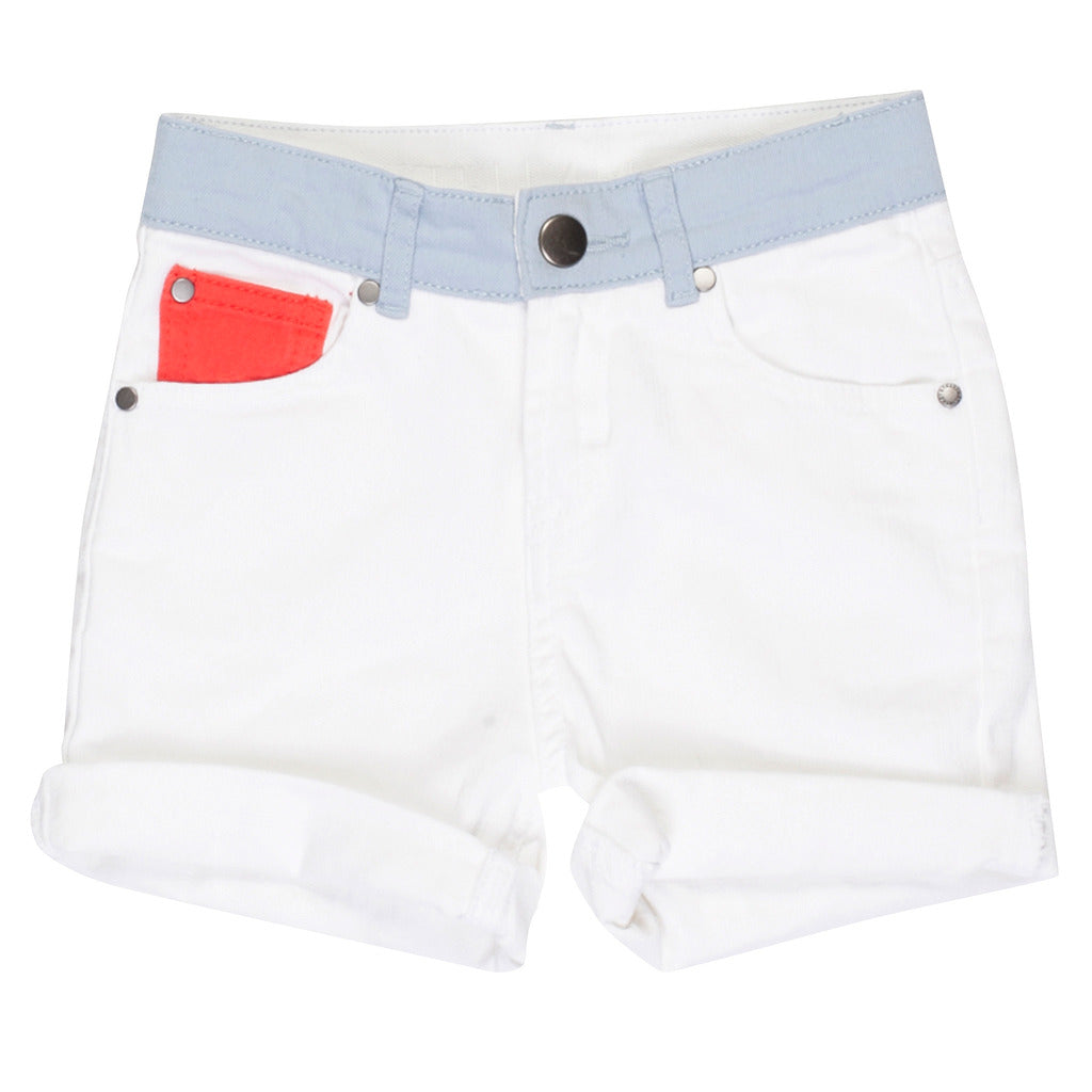 White Colour Block Shorts