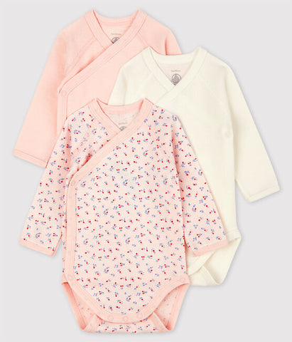 Pink Wrap Style Long Sleeved Bodysuits - Set of 3