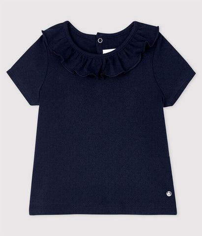 Navy Short Sleeve T-shirt with Ruffled Collar