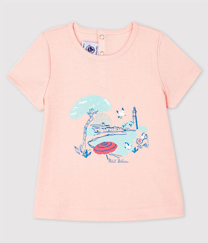 Pink Short Sleeve T-shirt with Paris Scene