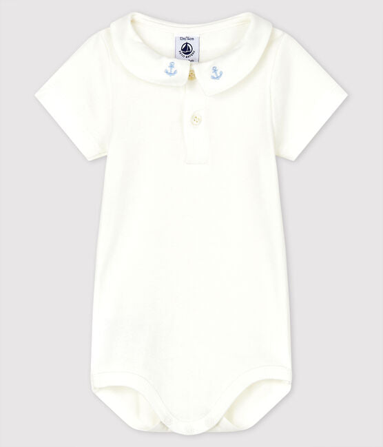 White Polo Bodysuit with Embroidered Anchor