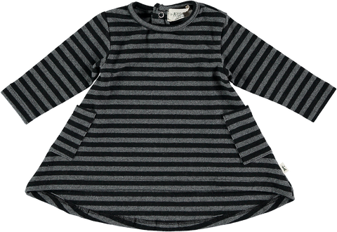 Black and Grey Striped Long Sleeve Tunic
