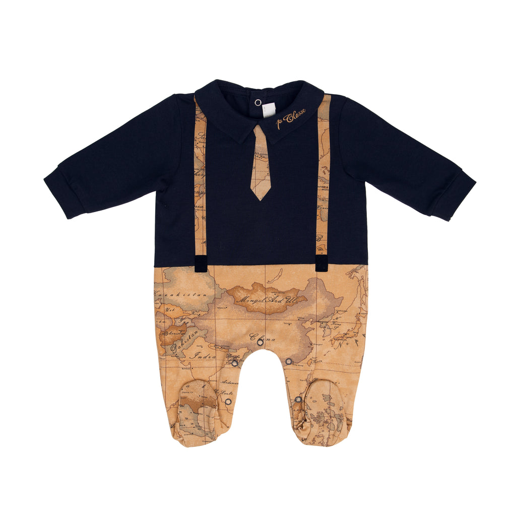 Navy Geo Print One-piece with Tie