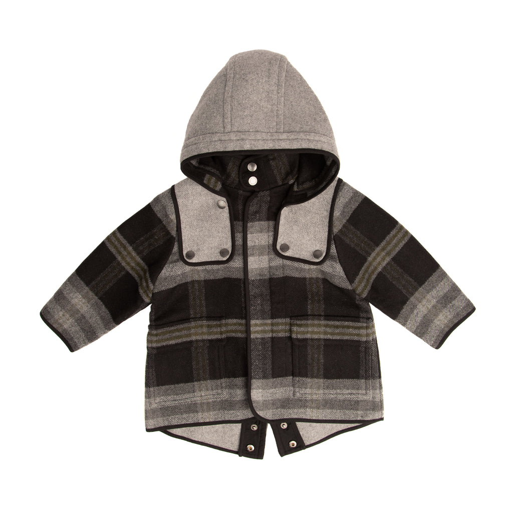 Grey check hooded coat