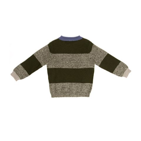 Green striped merino wool sweater