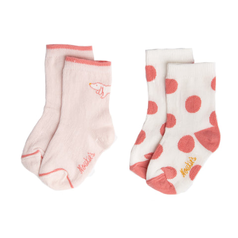 White with pink polka dots and light pink with dog print socks
