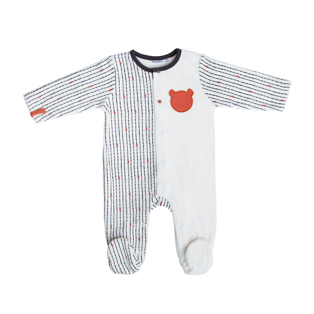 Striped Teddy Bear Velour Pyjama