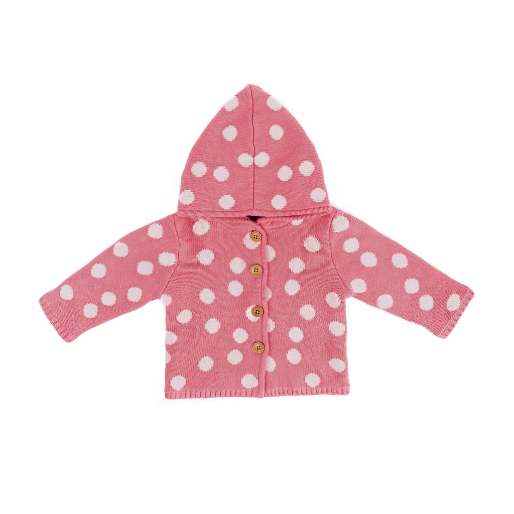 Pink polka dot hooded sweater