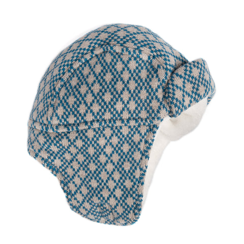 Blue and grey trapper-style hat