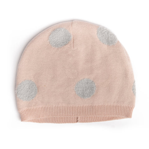 Soft pink knit hat with grey polka dots