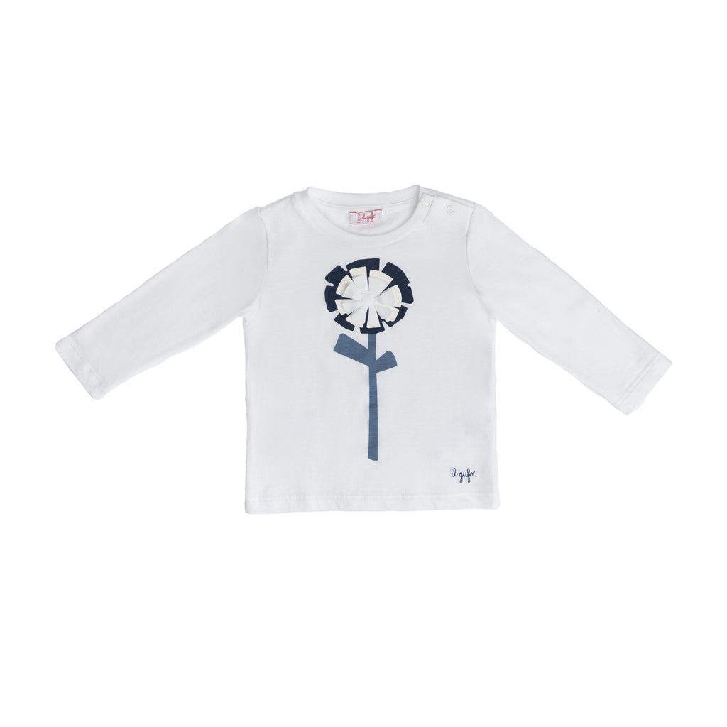 Long-sleeve t-shirt with flower appliqué