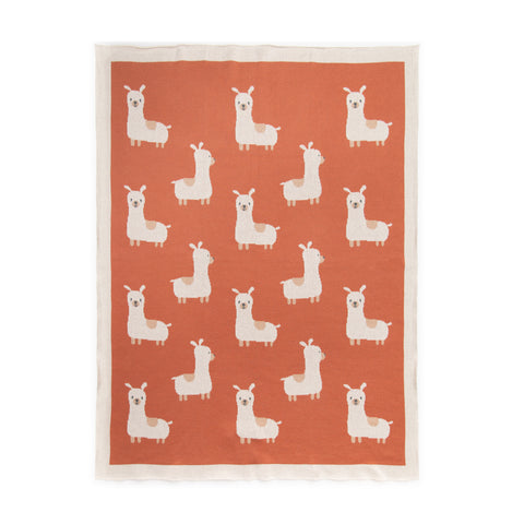Coral knit blanket with llama pattern