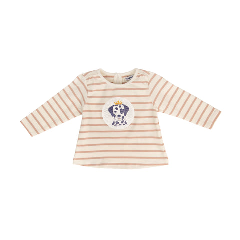 Cream and pink striped long sleeve