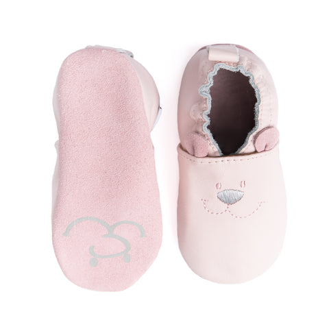 Soft pink leather moccasins