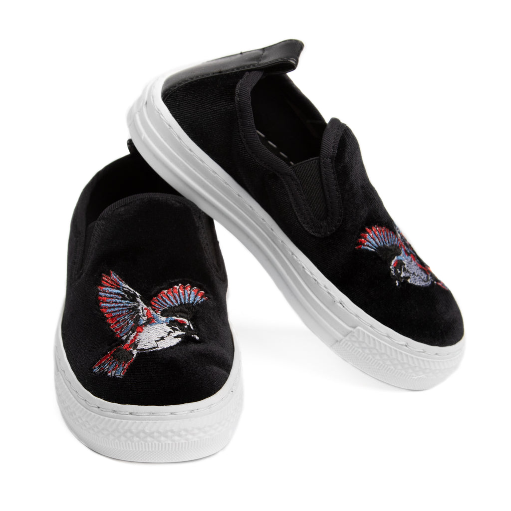 Black velour bird shoes