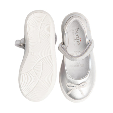 Silver leather ballerina shoe