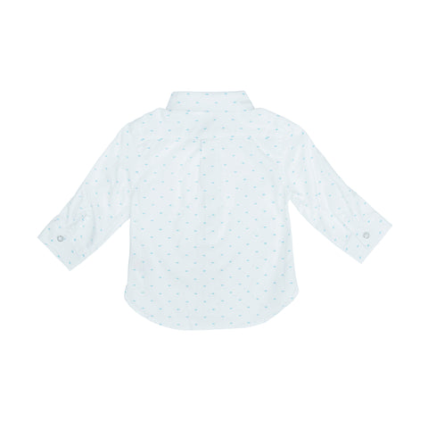 White oxford shirt with turquoise print