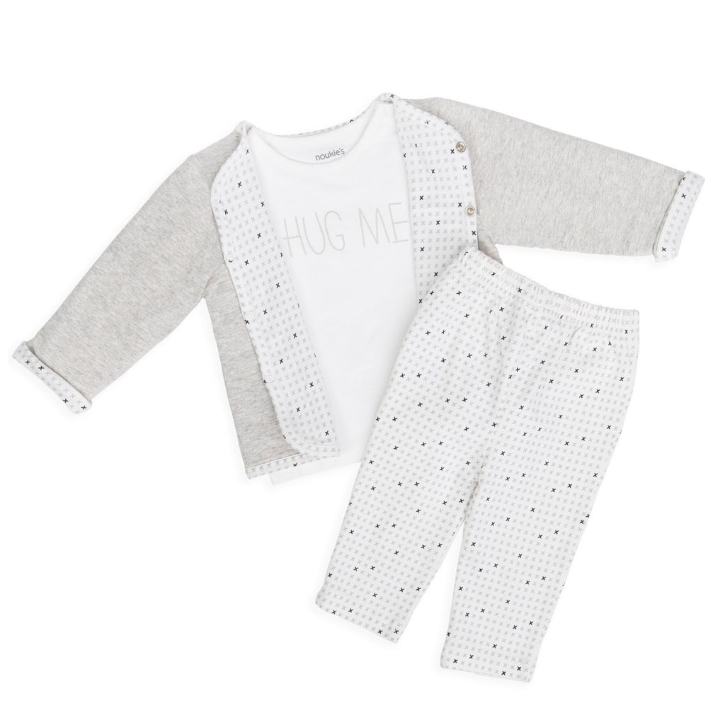 3-piece organic cotton set with reversible jacket