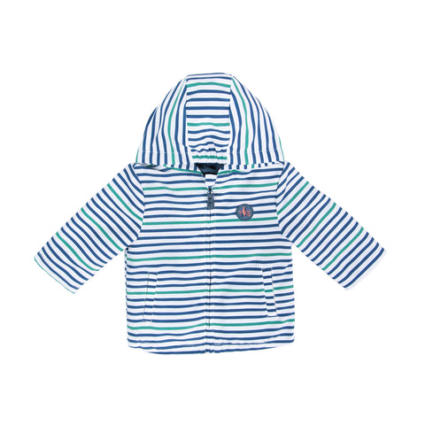 Blue and green striped 3-in-1 jacket