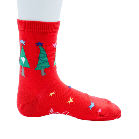 Red Holiday Tree Socks