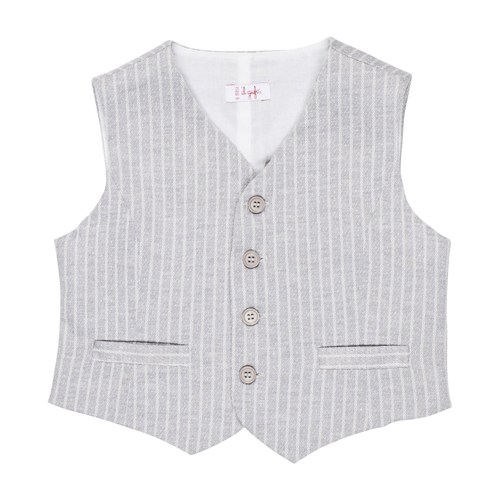 Light Grey Pinstriped Vest